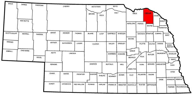 Cedar County, NE Map