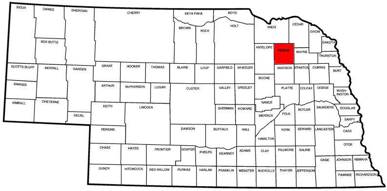 Pierce County, NE Map